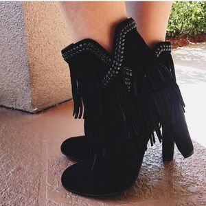 Sam Edelman black suede leather boots with fringe